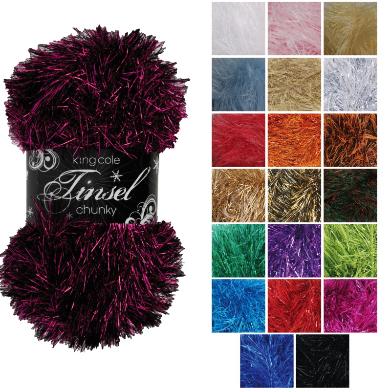 King Cole TINSEL Chunky Knitting Wool Yarn 50g 1583 TURQUOISE